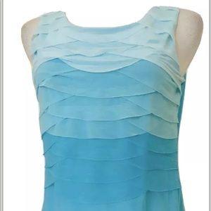 WORTHINGTON turquoise ruffle top Sz M-P Blouse
